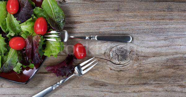 Saine organique salade sur plaque Photo stock © tab62