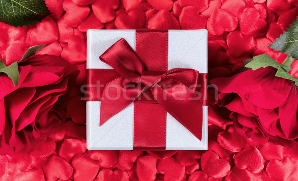 Valentine Gift with hearts and roses in background  Stock photo © tab62