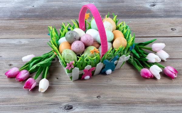 Pâques panier fêtes coloré oeufs Photo stock © tab62