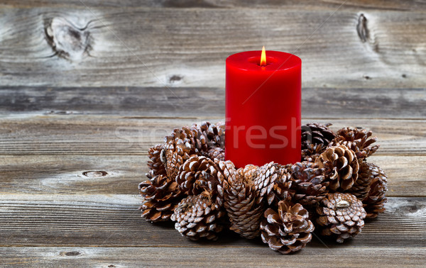 Burning Red Candle and Pine Cone Wreath for Christmas Season  Stock photo © tab62