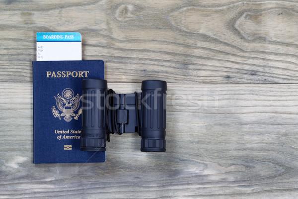 Соединенные Штаты паспорта бинокль древесины посадка Сток-фото © tab62