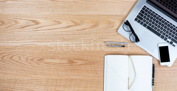 Clean oak desktop for business or education background Stock photo © tab62
