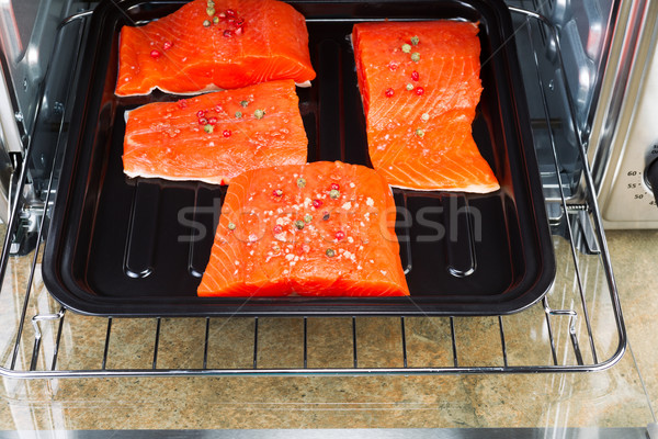 Baking Salmon in Oven Stock photo © tab62