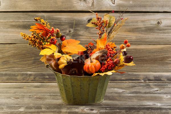 Najaar decoraties verweerde hout horizontaal foto Stockfoto © tab62