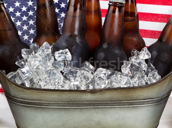 Sör kész ital negyedik ünnep közelkép Stock fotó © tab62