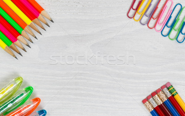 Colorful Office Supplies on White Desktop Stock photo © tab62