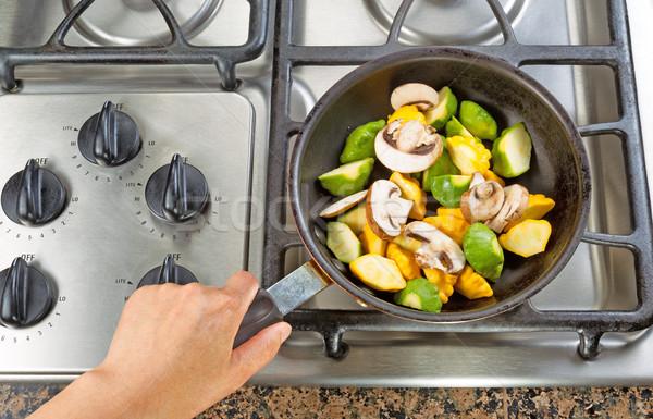 Frying Vegetables in Fry Pan  Stock photo © tab62