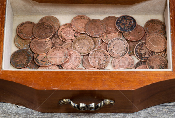 Oak antique dresser drawer filled with old Indian Head Cents  Stock photo © tab62
