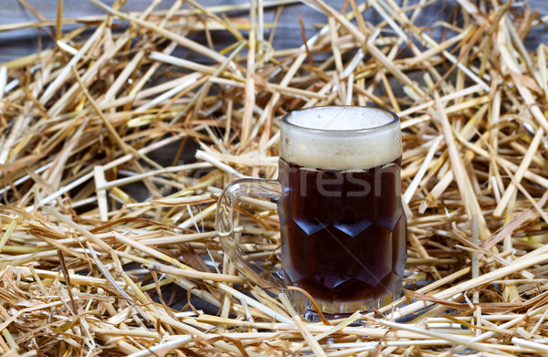 European Dark Beer in Stein on Straw and wood  Stock photo © tab62