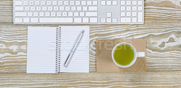 Ofis masaüstü yeşil çay içmek üst görmek Stok fotoğraf © tab62