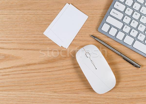 Tiszta asztali egyszerű kellékek piros tölgy Stock fotó © tab62