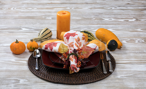 Dinner setting for autumn season with gourd decorations and cand Stock photo © tab62