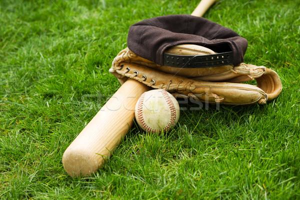 Old Baseball Equipment on Grass Field  Stock photo © tab62