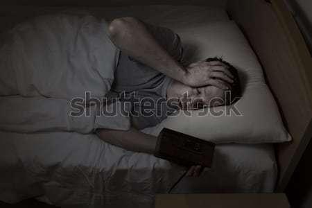 зрелый человек беспокойный кровать спать глазах открытых Сток-фото © tab62