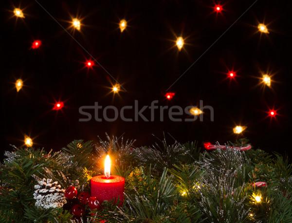 Noel mum yanan yaprak dökmeyen karanlık Stok fotoğraf © tab62
