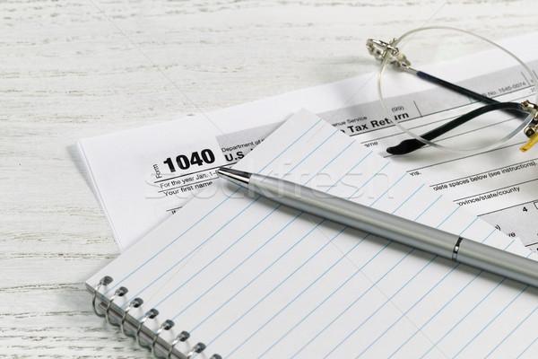 Toll papír adó fehér asztali közelkép Stock fotó © tab62