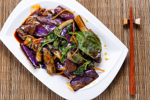 подготовленный сочный баклажан базилик трава блюдо Сток-фото © tab62