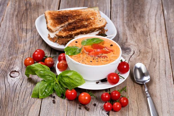 свежие чаши сливочный томатный суп сэндвич базилик Сток-фото © tab62