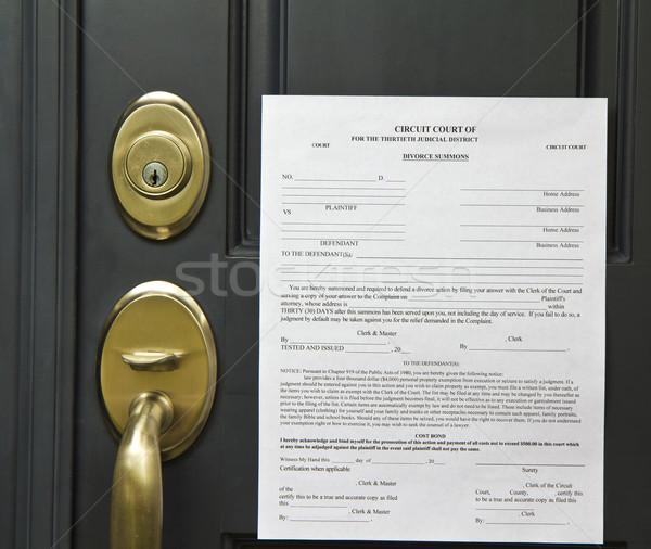 Rozwód urzędnik przednie drzwi papieru drzwi dokumentu Zdjęcia stock © tab62
