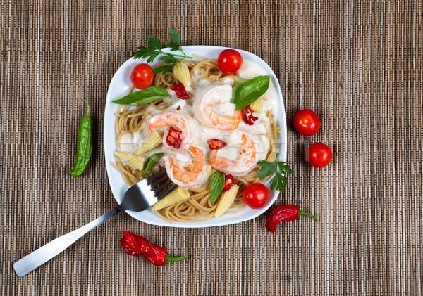 Freshly homemade creamy shrimp Alfredo pasta  Stock photo © tab62