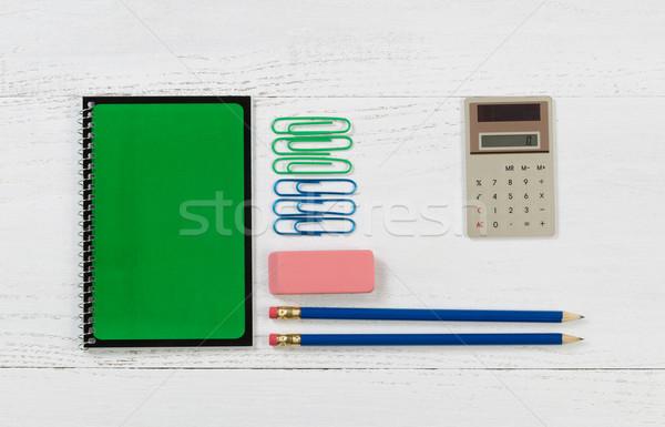Szervezett készlet munka iskola fehér asztali Stock fotó © tab62