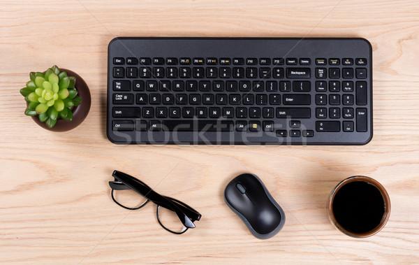 Clean desktop setup with modern wireless computer keyboard Stock photo © tab62