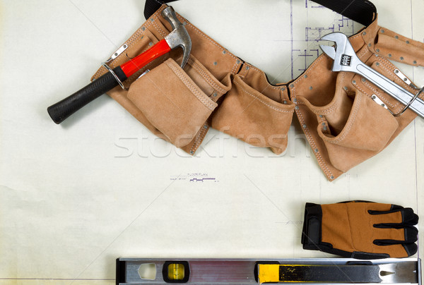 Construction blue print drawing with basic contractor tools  Stock photo © tab62