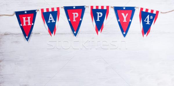 четвертый праздник баннер белый США Сток-фото © tab62