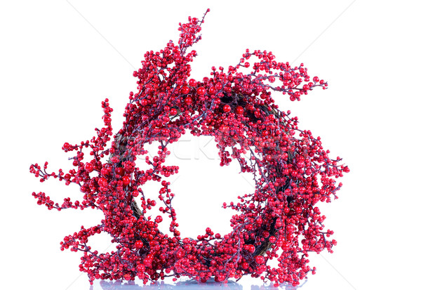 Seasonal red holly berry wreath on white background Stock photo © tab62