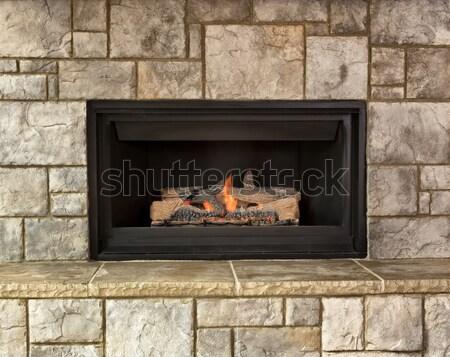 Földgáz kandalló otthon égő tűz háttér Stock fotó © tab62