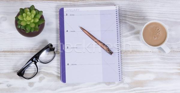 Fehér asztali naptár toll meg kávé Stock fotó © tab62