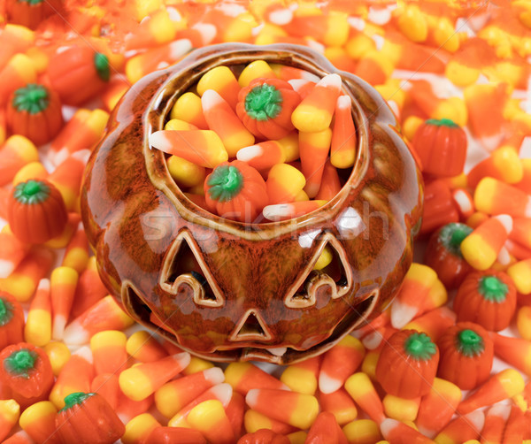 Close up of Halloween Candy Treats in Pumpkin  Stock photo © tab62