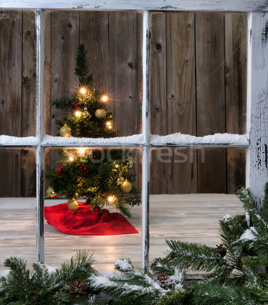 Christmas Tree decoration on wooden background  Stock photo © tab62