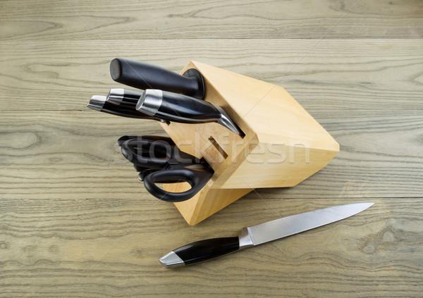Keuken messen witte eiken as Stockfoto © tab62