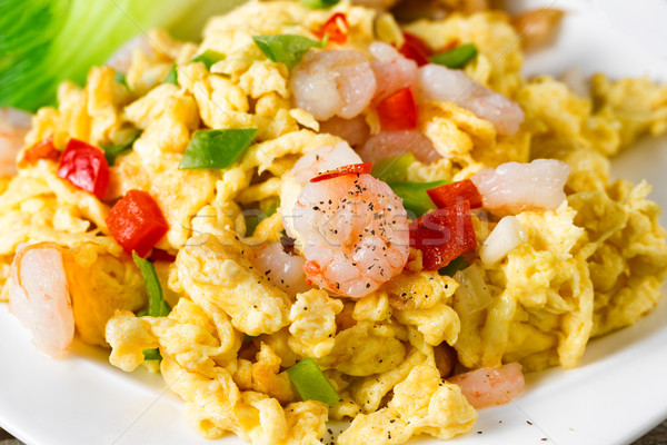 Chinese egg and shrimp dish ready to eat  Stock photo © tab62