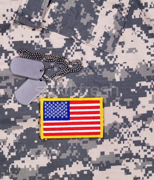 USA Flag patch and ID tags with battle dress uniform  Stock photo © tab62