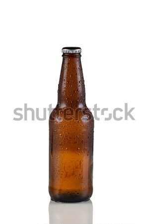 Unopened cold beer bottle on white with reflection  Stock photo © tab62