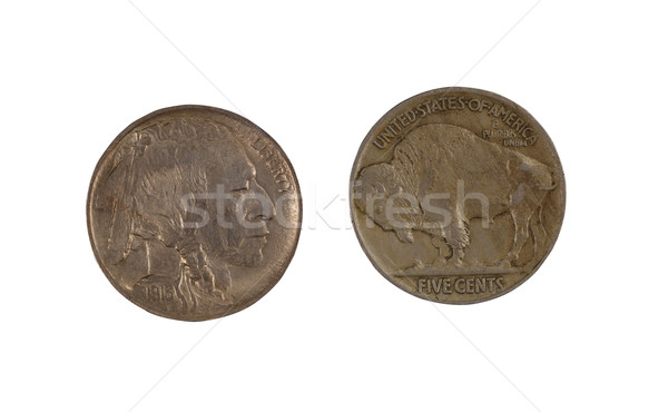 First year of original United States Buffalo Nickel on white Stock photo © tab62