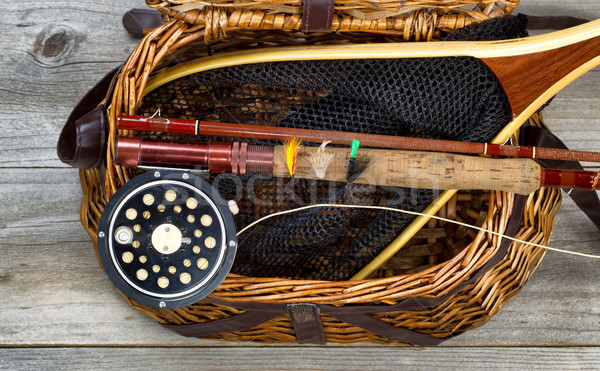 Creel filled with trout fishing equipment Stock photo © tab62