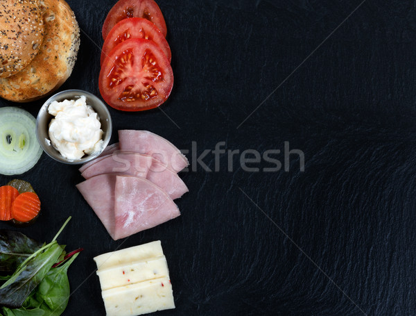 Sandwich ready to be made with fresh ingredients on slate stone  Stock photo © tab62