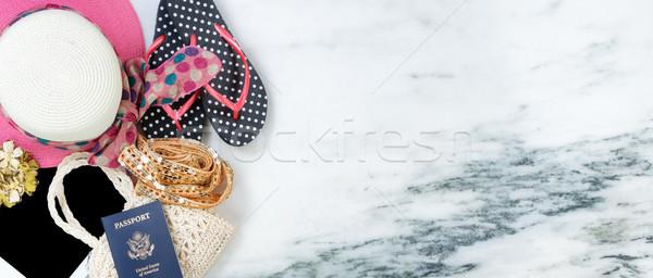 Utazás nő márvány kő nők ruházat Stock fotó © tab62