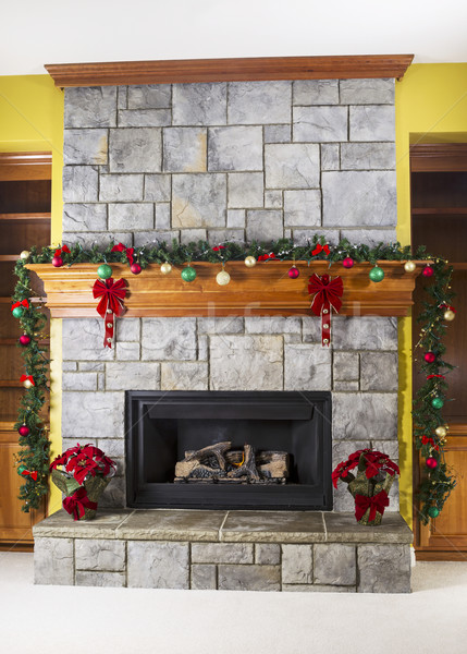 Cozy warm fireplace for the holidays  Stock photo © tab62
