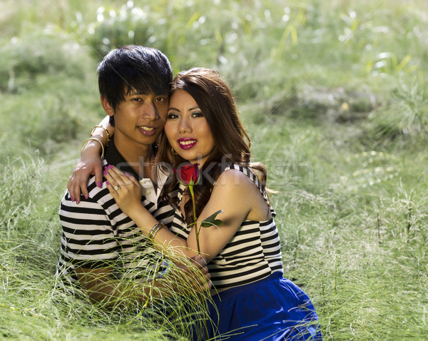 Young Adult Holding Each Other while sitting in Grass Field  Stock photo © tab62