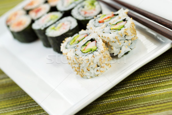 Stock photo: Fresh Sushi California Roll