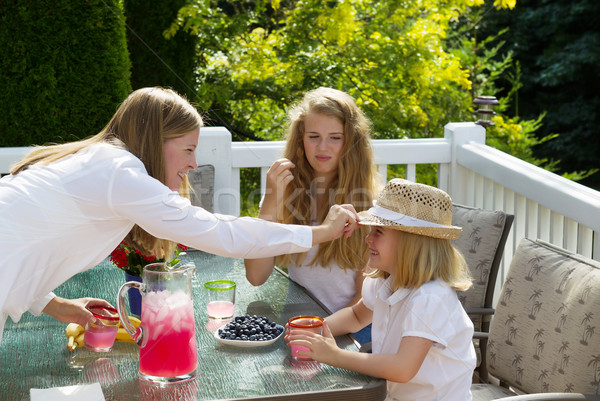 Mother putting hat on younger daughter during breakfast outdoors Stock photo © tab62