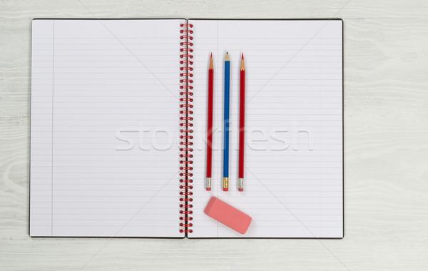 帳 鉛筆 消しゴム デスクトップ 新しい オープン ストックフォト © tab62