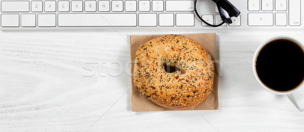 Simple working white desktop with morning meal  Stock photo © tab62
