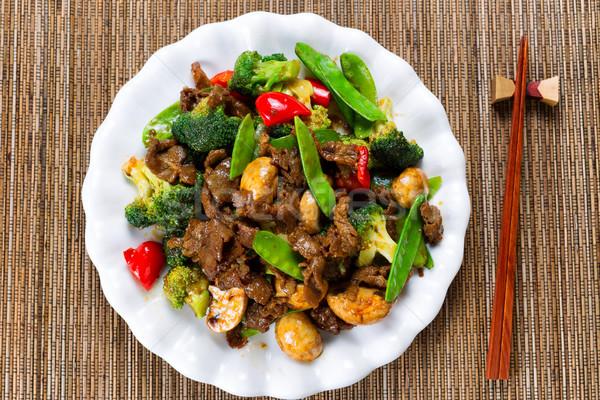 ストックフォト: ジューシーな · 牛肉 · スライス · 混合した · 野菜 · 準備