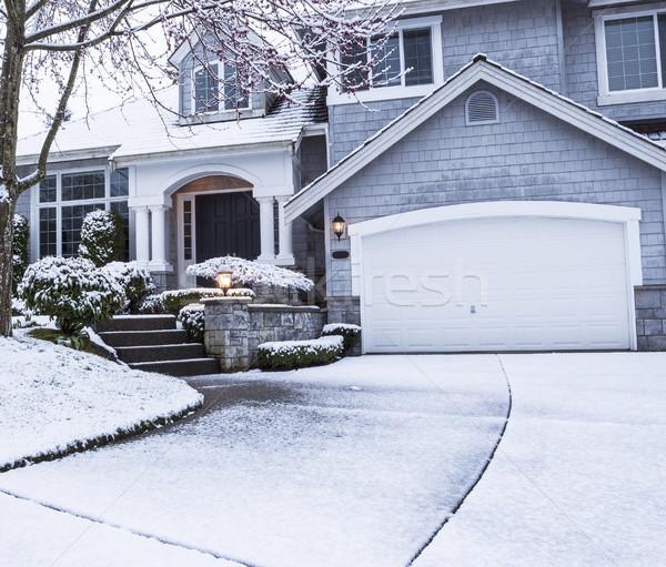 снега дорога ведущий домой фото пригородный Сток-фото © tab62