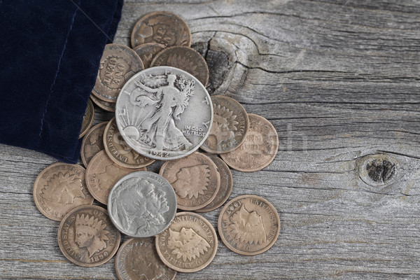 Bag of United States Rare Coins on Wood  Stock photo © tab62